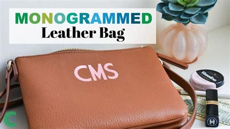 cricut  monogram  leather bag youtube