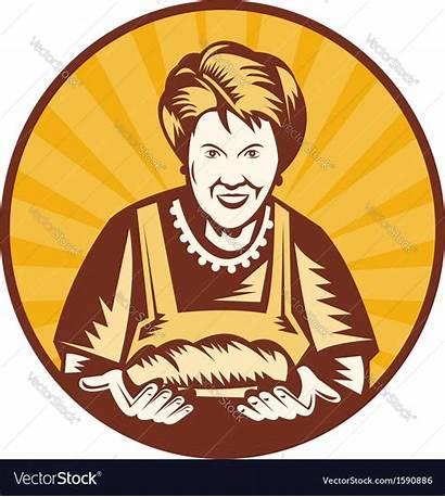 Grandma Vector Granny Baker Cooking Bread Clipart
