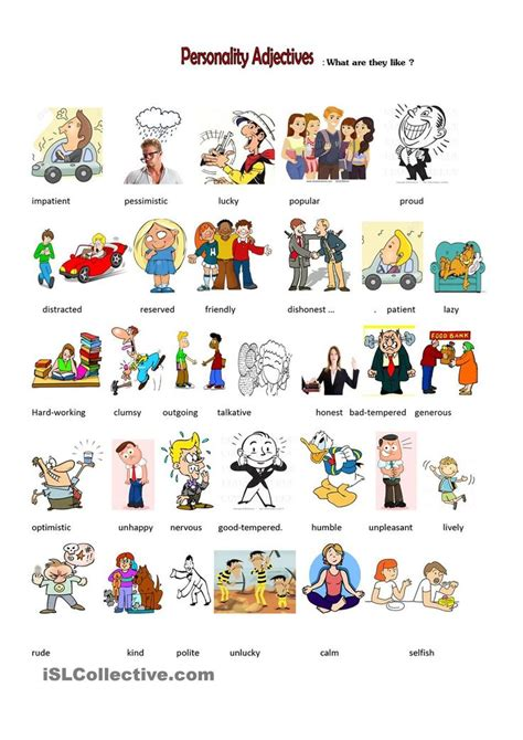 personality adjectives image black and white stock