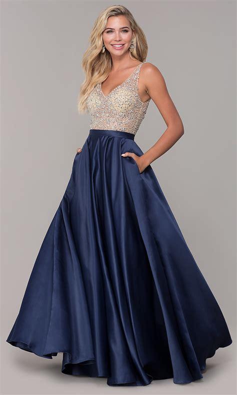 Open-Back Long V-Neck Prom Dress - PromGirl
