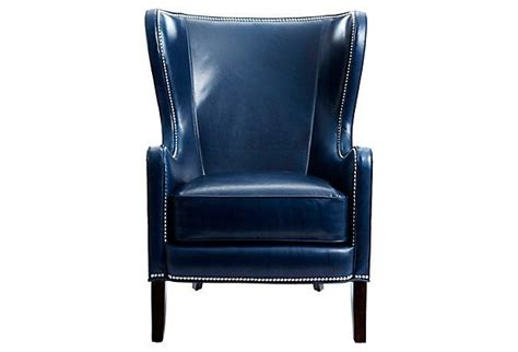 dempsey leather wing chair navy