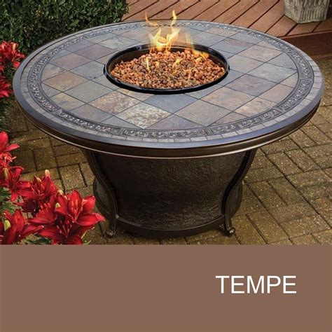 round gas fire table agio tempe 48 inch round slate top gas fire pit table