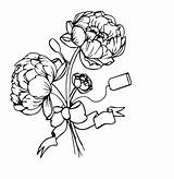 Coloring Bouquet Peonies Flowers Peony Adult sketch template