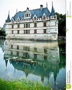 Azay Le Rideau Castle Reflected In The Water Stock Photo