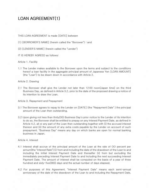 loan agreement template loan contract template