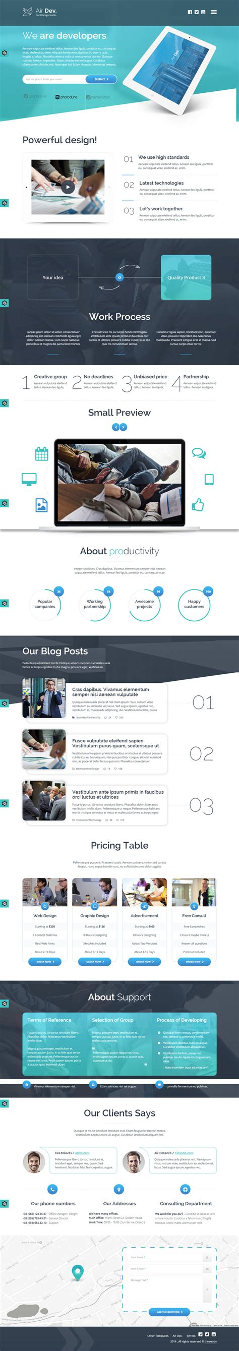 parallax website template one page parallax website template air dev html template