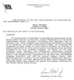 navy achievement medal re mendation letter