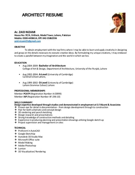 architect resume zaid nizami june 2015