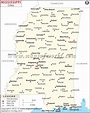 Buy Map of Mississippi Cities