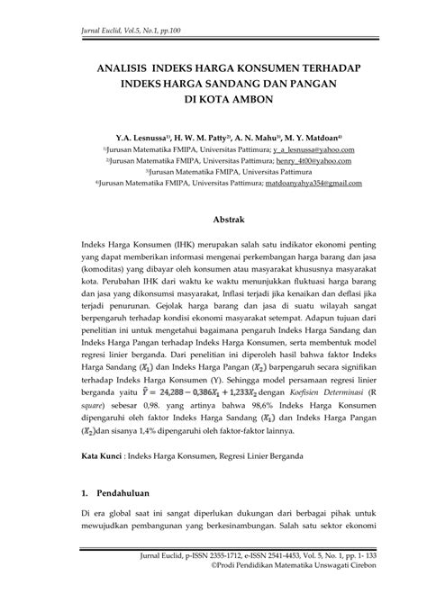 (PDF) ANALISIS INDEKS HARGA KONSUMEN TERHADAP INDEKS HARGA