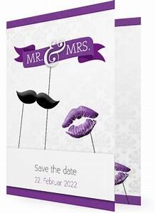 Save The Date Postkarten : save the date postkarten und klappkarten mr mrs bart und kuss lila ~ Watch28wear.com Haus und Dekorationen