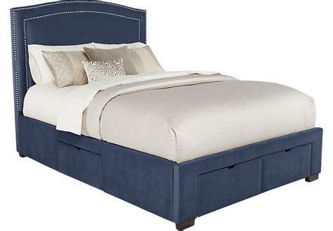 Loden Navy 3 Pc Queen Upholstered Bed with 4 Drawer