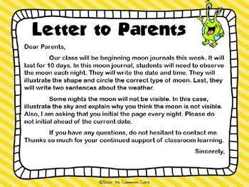moon journal  parent letter  days  door  common