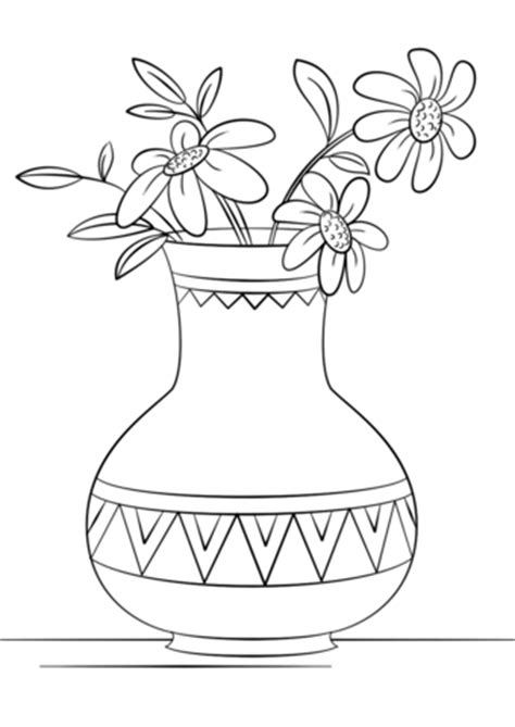 flower vase coloring vase of flowers coloring page free printable coloring pages