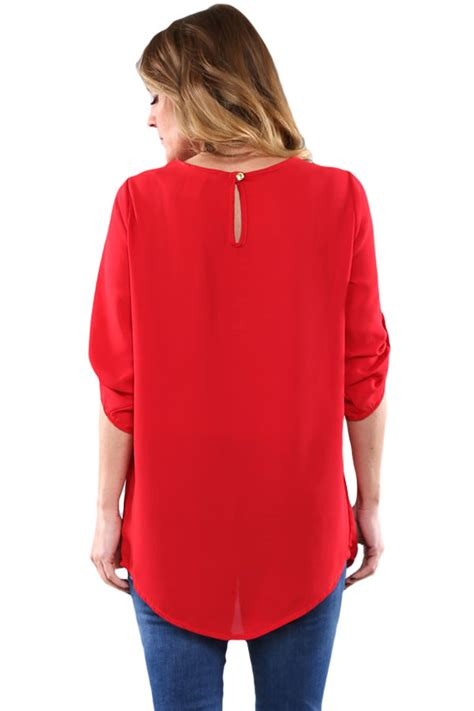 pin up blouse fashionable ruched detail pin up sleeve front blouse