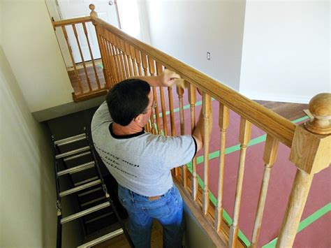 sanding banister spindles how to paint stair railings newton custom interiors