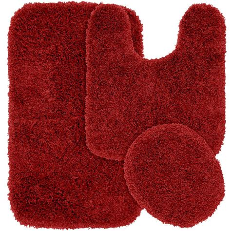 3 Pc Area Rug Set by Garland Rug Jazz Chili Pepper Red 21 In X 34 In Washable