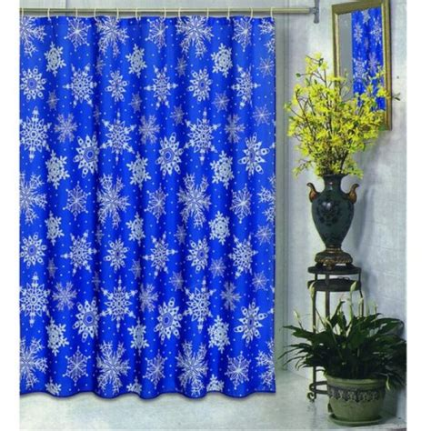 geekshive snow flakes polyester fabric shower