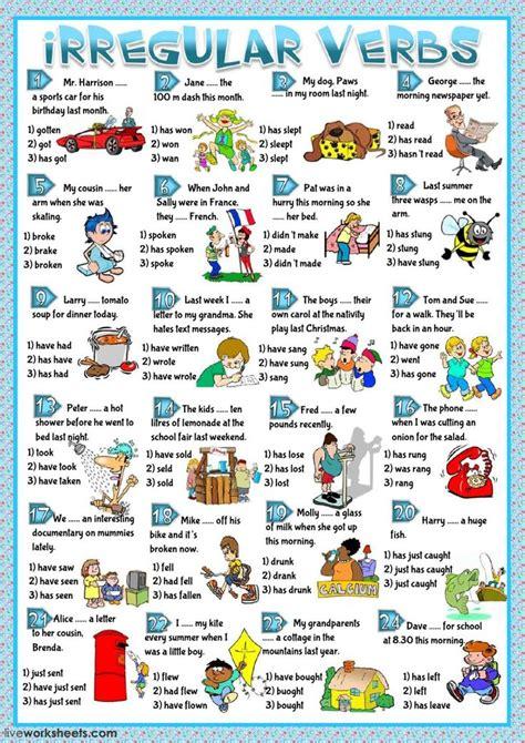 irregular verbs interactive  downloadable worksheet