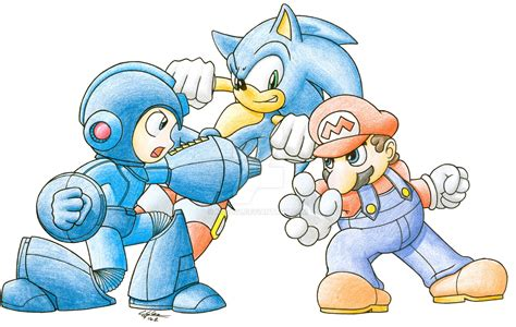 Megaman Vs Sonic Vs Mario By N0b0d1 On Deviantart