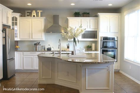 white colour kitchen kitchen makeover 1 4 island molding because i like to 411 | kitchenreveal1