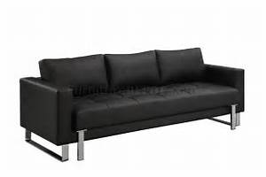 black faux leather contemporary sofa bed w tufted seat With modern faux leather sofa bed
