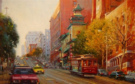 painting paintings roads city cities cars trains wallpaper