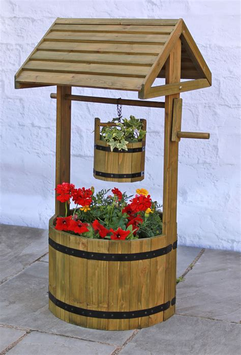 wooden decorative wishing well planter h1m x d45cm 163 56 99