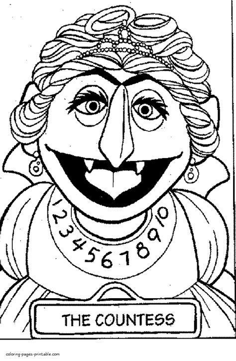 printable sesame street coloring pages  countess