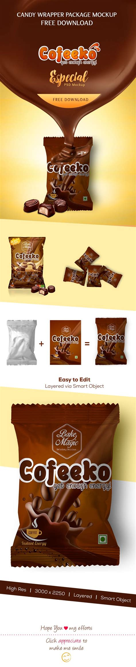 Don't forget to share with your friends! Free foil packet PSD mockup #packaging #candy #sweet # ...