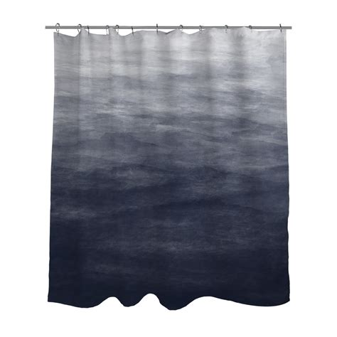 navy blue grey ombre watercolor shower curtain bath curtain
