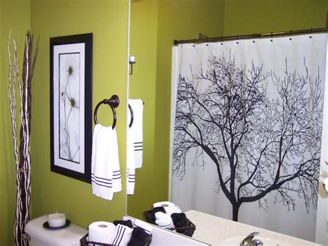 black and white tree shower curtain in green bathroom hgtv