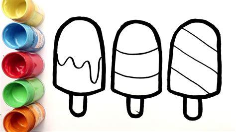 cara menggambar dan mewarnai 3 es krim enak untuk anak
