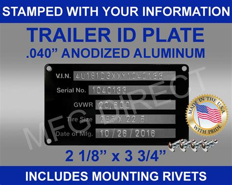 stamped trailer truck equipment vin frame plate serial model id tag usa ebay
