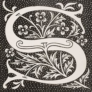 Decorative Capital Letter S Drawing by Vintage Design Pics