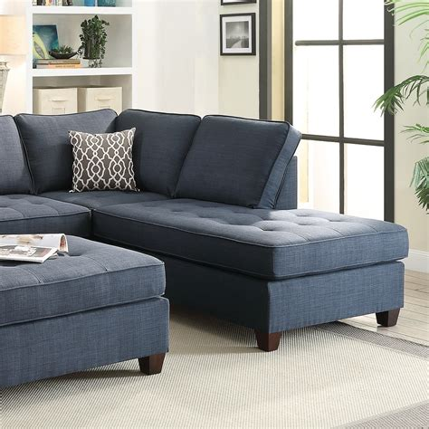 livingroom chaise blue sectional sofa chaise poundex f6989 sectionals