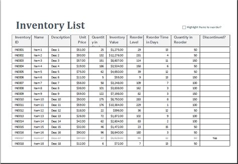 excel inventory sheet template word excel templates
