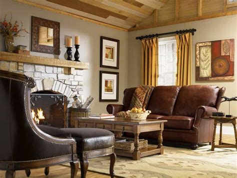 country livingroom country living room with leather sofa