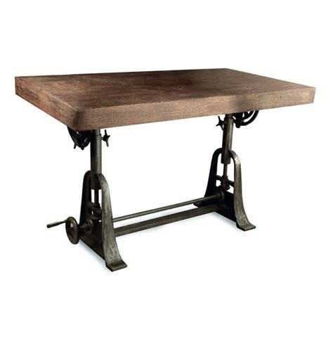 wood and iron desk kossi industrial rustic wood cast iron drafting table desk