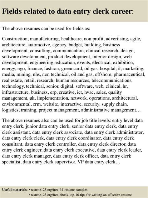 Data Clerk Objective by Top 8 Data Entry Clerk Resume Sles