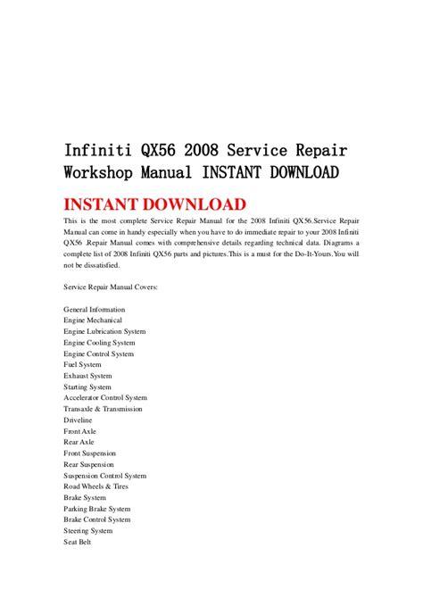 how to download repair manuals 2009 infiniti qx security system infiniti qx56 2008 service repair workshop manual instant download