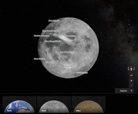 explore  moon  mars  google maps