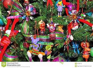 Christmas Tree Decorated With Children's Toys. Stock ...