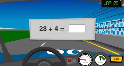 grade math activity race car math facts learning