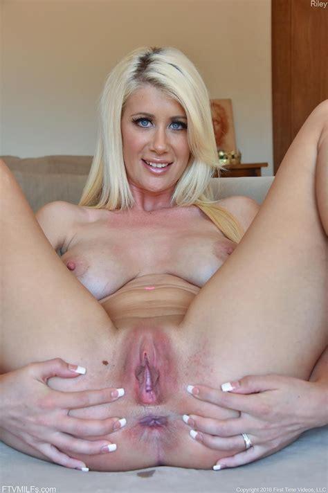 Busty Blonde Milf Spreads Pussy