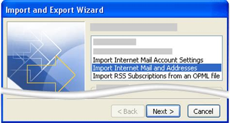import  messages  account  outlook express