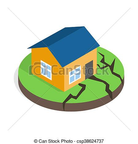 House After An Earthquake Icon, Isometric 3d Style Icon