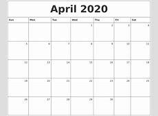 April 2020 Monthly Calendar