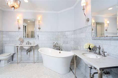 carrera white marble Bathroom Traditional with bathroom