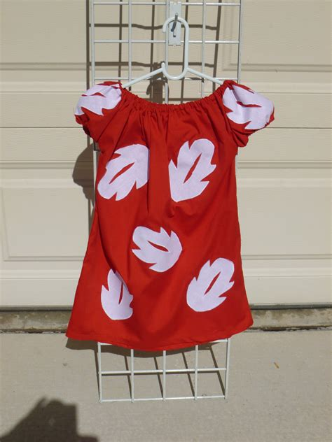 lilo girls peasant style dress red  white leaves